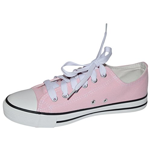 (S-3 Womens Low Top Classic Canvas Sneakers Fashion Lace-up Shoes (5, Pink))