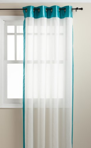 (Stylemaster Soho 55 by 95-Inch Sheer Grommet Panel with Faux Silk Border, Turquoise)