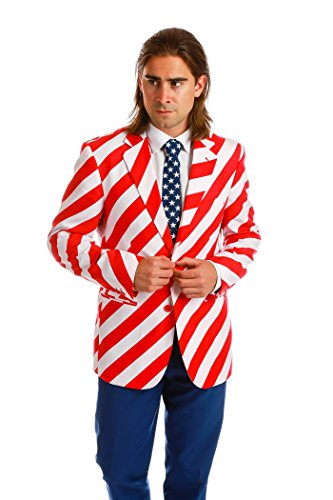 [The Van Buren Men's Patriotic Suit by OppoSuits - Individual Jacket, Pants, or Tie] (Morph Suit Costumes Ideas)