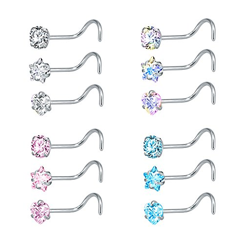 ZS 9-12PCS 20g Surgical Stainless Steel Nose Stud Ring Piercing Nose Bone/L Shaped/Nose Screws Rings Set (12pcs Nose Screws Style) ()