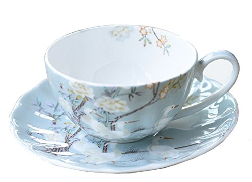 [Fine Bone China Flower Chintz Porcelain Coffee Mug Tea Cup with Saucer - Crane,] (Bone China Cup Saucer)