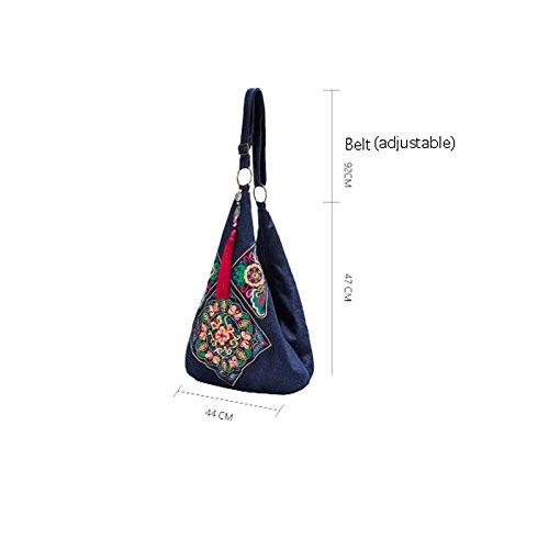 Borsa Frangia Originale Messaggero Etnico Gms467 Retro Blu Del Etnica Della Vintage Bag Vento Os Il Nappa Crossbody Ricamo Cineserie Polso Sacchetto 1gqgB0d