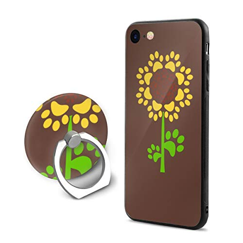 Sunflower Clipart iPhone 7/8 Case with 360 Rotating Ring Holder Slim Fit Hard PC Protective Shock-Absorption Anti-Scratch Case Back Cover for iPhone 7/8 ()