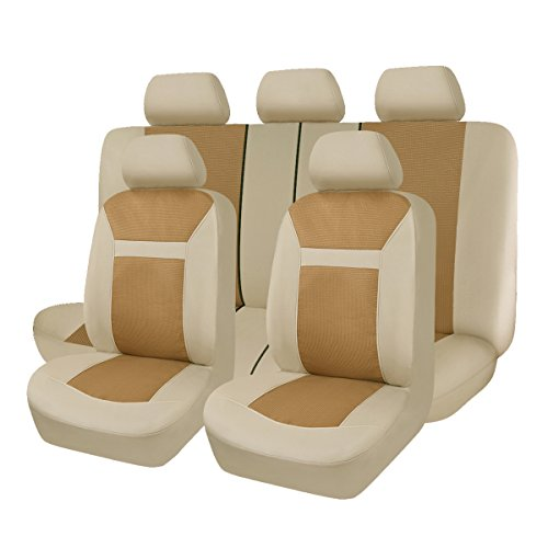 Flying Banner 9 PCS Full Set Universal Car Seat Covers Beige and Brown Jacquard Polyester Sponge Cushioned fit Car Truck Van - Brown Cover Seat
