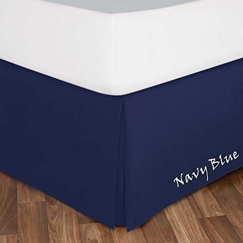 Brand RK Linen King Size - Luxurious Hotel Egyptian Cotton Solid ( 1-PC ) Bed Skirt With 600-Thread-Count With 10'' Inch Drop Length ( Navy Blue )