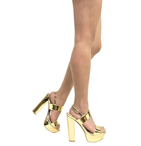 Gold Metallic Platform (BEAT 44! Women's Peep Toe Ankle Strap Chunky Heel Slingback Platform Sandals, Gold Metallic 6.5 M US)