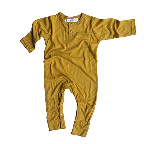 Hey Hendrix Apparel Bamboo Baby Jumpsuit Coveralls (Mustard) from Organically Grown Bamboo (6-9m)