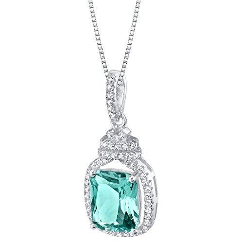 Simulated Paraiba Tourmaline Sterling Silver Glitz Pendant Necklace
