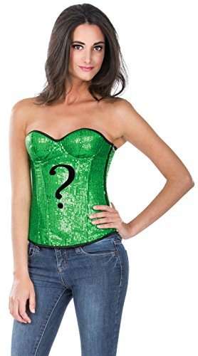 [Secret Wishes DC Comics Justice League Superhero Style Adult Corset Top with Logo Sequined The Riddler, Green,] (Riddler Costume Amazon)