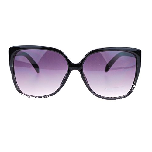 Black Oversized Fashion Designer Sunglasses (Womens Oversized Rectangular Squared Cat Eye Designer Fashion Diva Sunglasses Black)