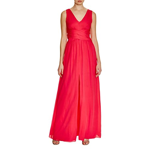 Parker Black Womens Glacier Shutter Pleat Double V Evening Dress Red 2