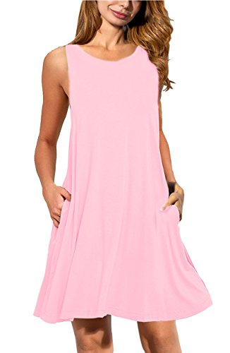 0cb2bb93f420 AUSELILY Women's Sleeveless Pockets Casual Swing T-shirt Dresses (XL, Pink)