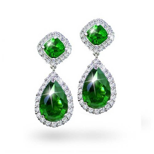 5CT Green CZ Teardrop Pear Shaped Simulated Emerald Cubic Zirconia Dangle Earrings For Women Prom Silver Plated Brass