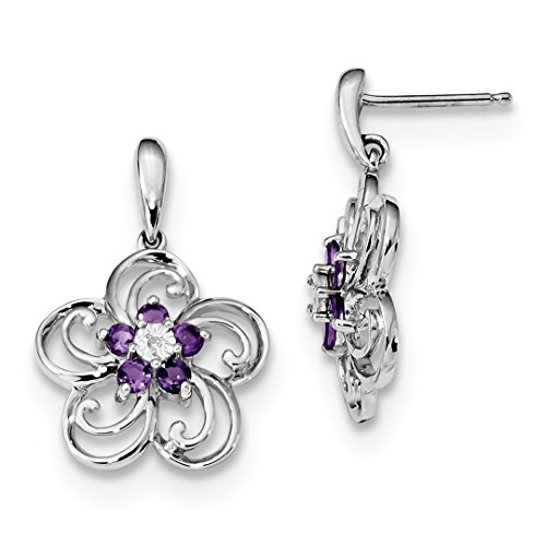 ICE CARATS 14k White Gold Diamond Purple Amethyst Flower Drop Dangle Chandelier Post Stud Ball Button Earrings Fine Jewelry Ideal Mothers Day Gifts For Mom Women Gift Set From Heart (14k Amethyst Flower)