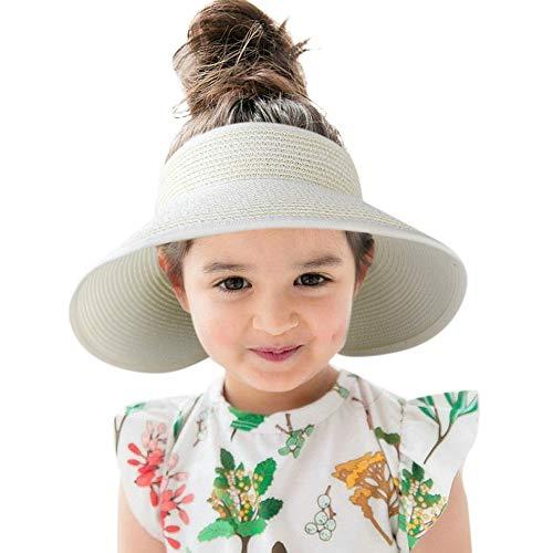 (Sun Visor Kids Straw Hat Wide Brim Roll Up Summer Toddler Beach Hats Boy Girl White)