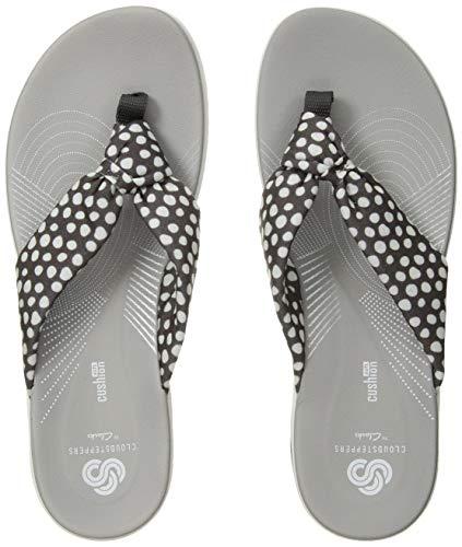 CLARKS Women's Arla Glison Flip-Flop Grey Textile White dots 110 M US - Grey White Dots