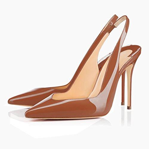 EDEFS Damen Stiletto Heels Übergröße Damenschuhe Spitze Zehen Lackleder Slingback Pumps mit Gummiband Braun