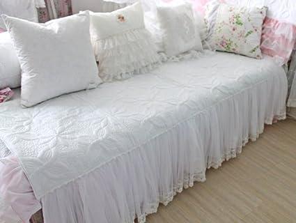 DIAIDI,Sofa Sectional Covers,Sofa Cover Cushion,Beautiful White Lace Sofa  Covers Sectionals