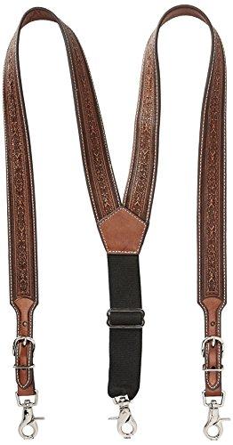 Nocona Belt Co. Men's Detail Tool Leather Suspender, tan, - Suspenders Western Leather