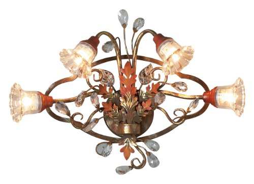 - Eurofase 14444-012 Calista 4-Light Wall Sconce, Russett/Clear Crystal