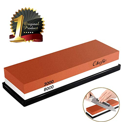 (BearMoo Whetstone Premium 2-IN-1 Sharpening Stone 3000/8000 Grit Waterstone Kit - Knife Sharpener Stone Safe Honing Holder Silicone Base Included, Polishing Tool for Kitchen, Hunting and Pocket Knives)