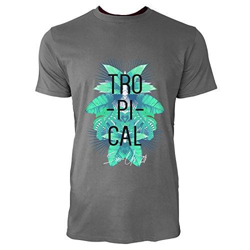 SINUS ART® Tropischer Print mit Palmblättern Herren T-Shirts in Grau Charocoal Fun Shirt mit tollen Aufdruck