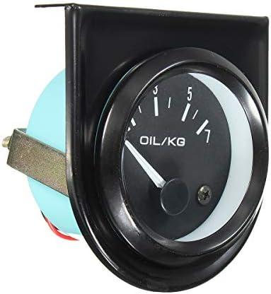Queenwind 2インチ52Mm普遍的な車の黒のポインターの油圧ゲージ0-7Kg / Cmの白い導かれたライト