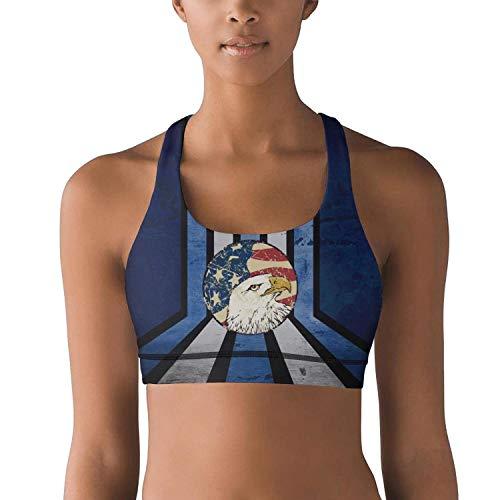Milr Gile Women's Retro Vintage American Flag Eagle Head Workout Yoga Bra Removable Padded Sports Bras