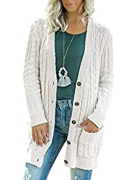 BOCOTUBE Women Long Sleeve Twist Knit Cardigans Button Down Cable Sweater Coat Patch Pockets Beige