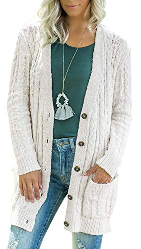 Women Long Sleeve Twist Knit Cardigans Button Down Cable Sweater Coat Patch Pockets