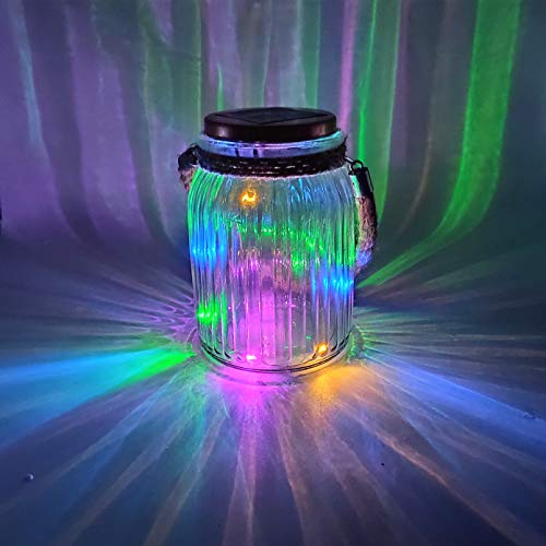 Sogrand Solar Christmas Lights Decorations Outdoor Mason Jar Light Hanging Tree Lights Bright High 4 Color 8 LED Wire Garden Decor Tabletop Lantern for Gift Party Yard (For Mason Caps Solar Jars)
