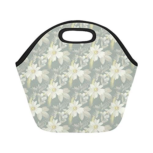 Insulated Neoprene Lunch Bag Floral Pattern Seamless Decorat