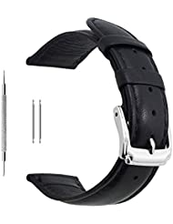 Berfine 20mm Black Calf Leather Watch Band Replacement,Extra Soft Watch Strap for Men Women