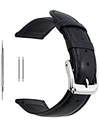 20mm Black Calf Leather Watch Band Replacement,Extra Soft Watch Strap for Men Women