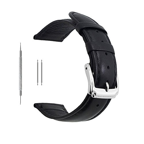 Berfine 20mm Black Calf Leather Watch Band Replacement,Extra Soft Watch Strap for Men ()
