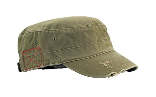 - G Men's Castro Style Enzyme Washed Cotton Twill Army Cap (Olive Green)