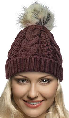 - Terra Winter Hand Knit Beanie Hat with Faux Fur Pompom for Women and Men, Dark Red, One Size