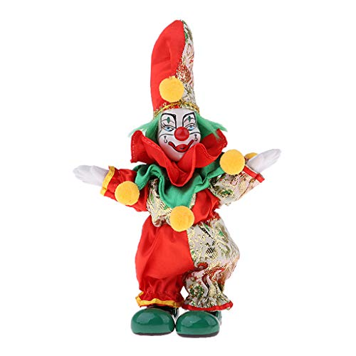 SM SunniMix 6inch Funny Clown Man Doll Wearing Colorful Costume Suit Halloween Ornament #2