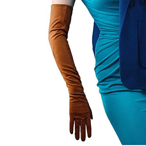 (Suede Long Gloves Faux Leather 24