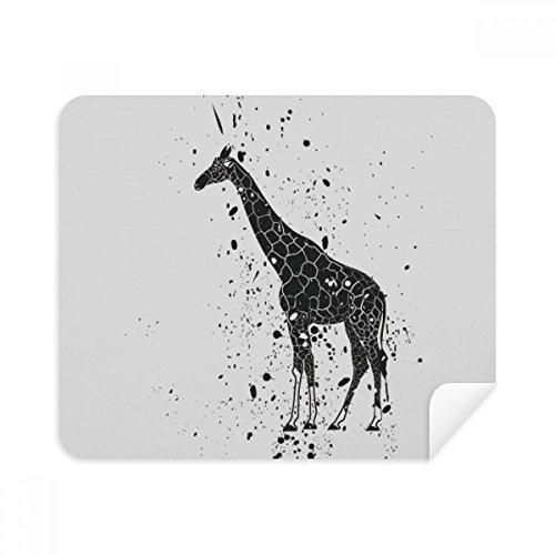 Giraffe Cartoon Animal Grey Phone Screen Cleaner Glasses Cleaning Cloth 2pcs Suede Fabric ()