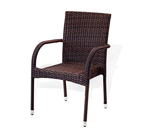 Patio Resin Outdoor Wicker Arm Chair Garden Sunroom Deck Balcony Furniture. Dark Brown Color