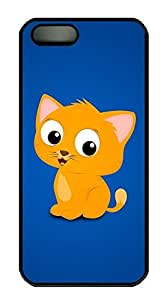 iPhone 5 5S Case Cute Cartoon Cat PC Custom iPhone 5 5S Case Cover Black