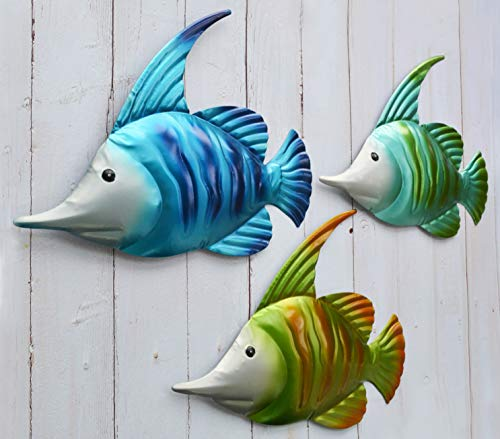 GIFTME 5 Metal Fish Wall Art Garden Decor Set of 3 Colorful Outdoor or Indoor Wall -