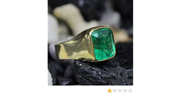Ancient Design Handmade Natural Emerald Men Ring 22K Gold over 925K Sterling Silver