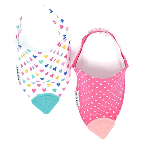 Sweetheart Bandana - Bazzle Baby Banda Teething Bib - Bandana Bib for Babies - Sore Gum Relief and Drool Bib - Sweetheart 2 Pack