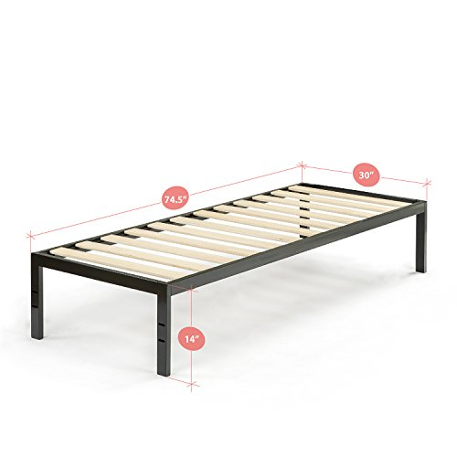 "Zinus Modern Studio 14 Inch Platform 1500 Metal Bed Frame, Cot size, 30"" x 75"", Mattress Foundation, no Boxspring needed, Wood Slat Support, Good Design Award Winner, Narrow Twin by Zinus (Image #1)"