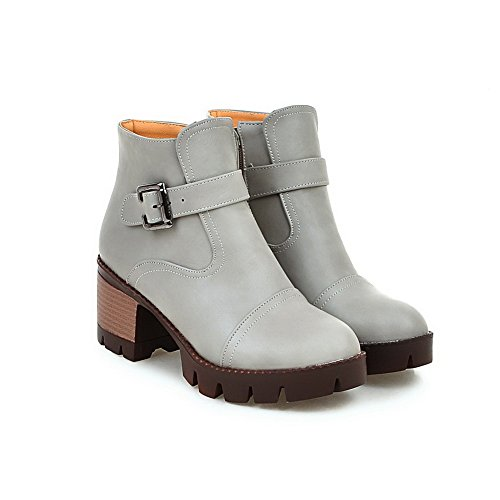 Women's High Solid Boots Top Toe Closed Round Gray PU Heels Low Allhqfashion dw8Zd