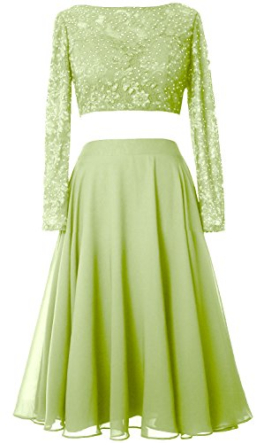 MACloth Elegant 2 Piece Long Sleeve Cocktail Dress Short Lace Prom Formal Gown Pistachio