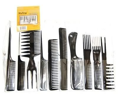 Premium Quality 10 pcs Set Kit of Professional Hairdressers Accessories Tools With Hair Styling Black Combs By VAGA