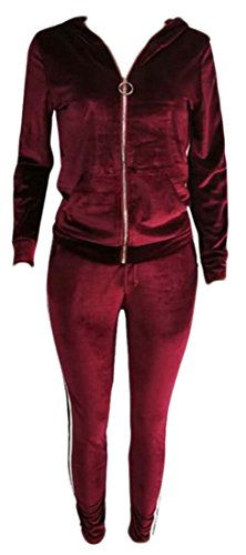 Hooded sport Women Set and amp;W Up Pants Sweat amp;S Zipper Sleeve 1 Tracksuit M Long Velvet qPnEtSxw